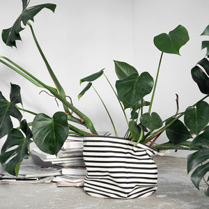 Set of 2 Storage, Stripes, Black/White