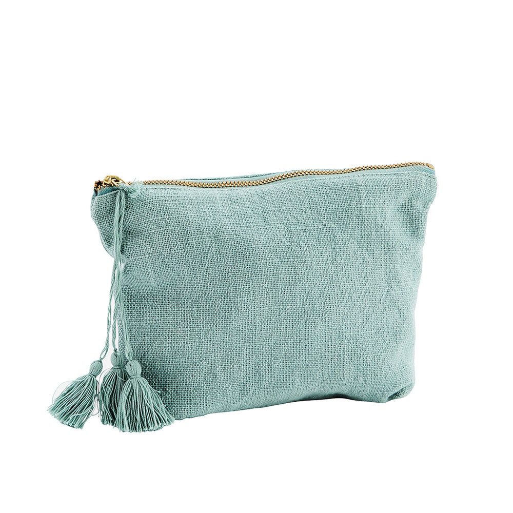 Pouch bag in green blue textured cotton with tassel and brass zip. Madam Stoltz.