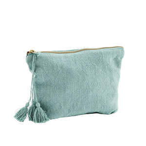 Load image into Gallery viewer, Pouch bag in green blue textured cotton with tassel and brass zip. Madam Stoltz.