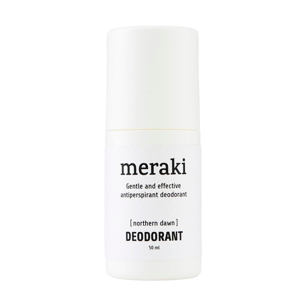 White bottle with lid and black text 'Meraki gentle and effective antiperspirant deodorant [northern dawn] Deodorant 50ml'