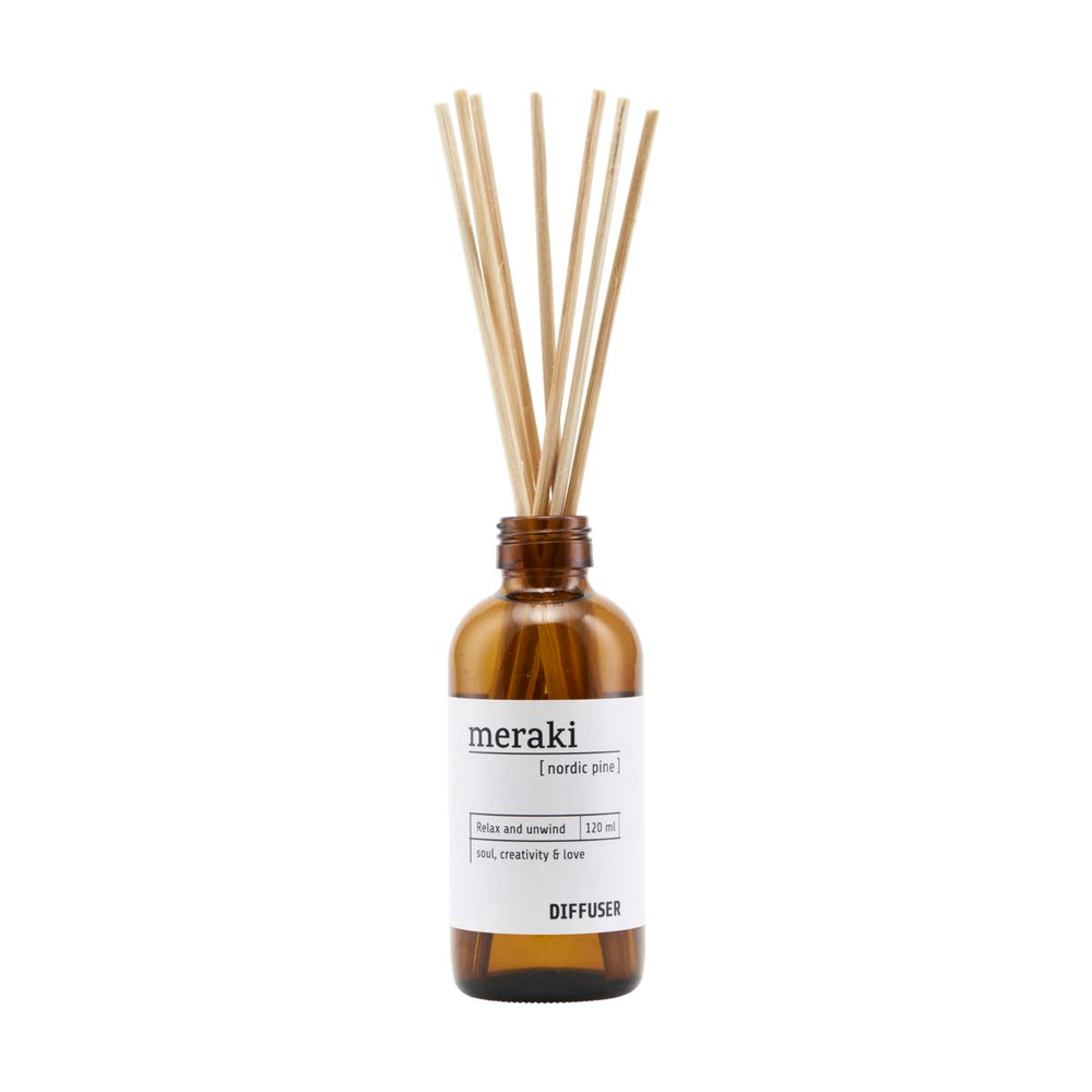 Load image into Gallery viewer, Bottle of room scent from Meraki. Nordic Pine. 120ml diffuser.