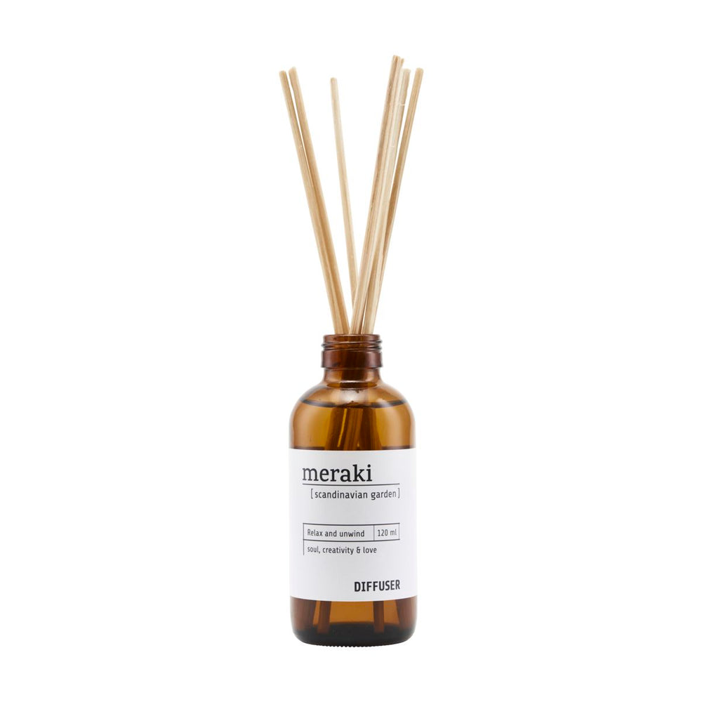 Meraki room scent, Scandinavian Garden,  in a bottle with sticks for diffusion.