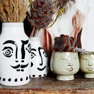 Black & White Stoneware Face Vase