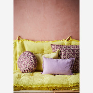 40 x 60 cm Lemon Yellow Linen Cushion Cover with Tassels