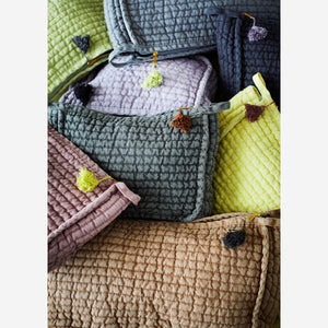 Load image into Gallery viewer, Stonewashed Burnt Sugar Quilted Linen Toiletries Bag with Tassel