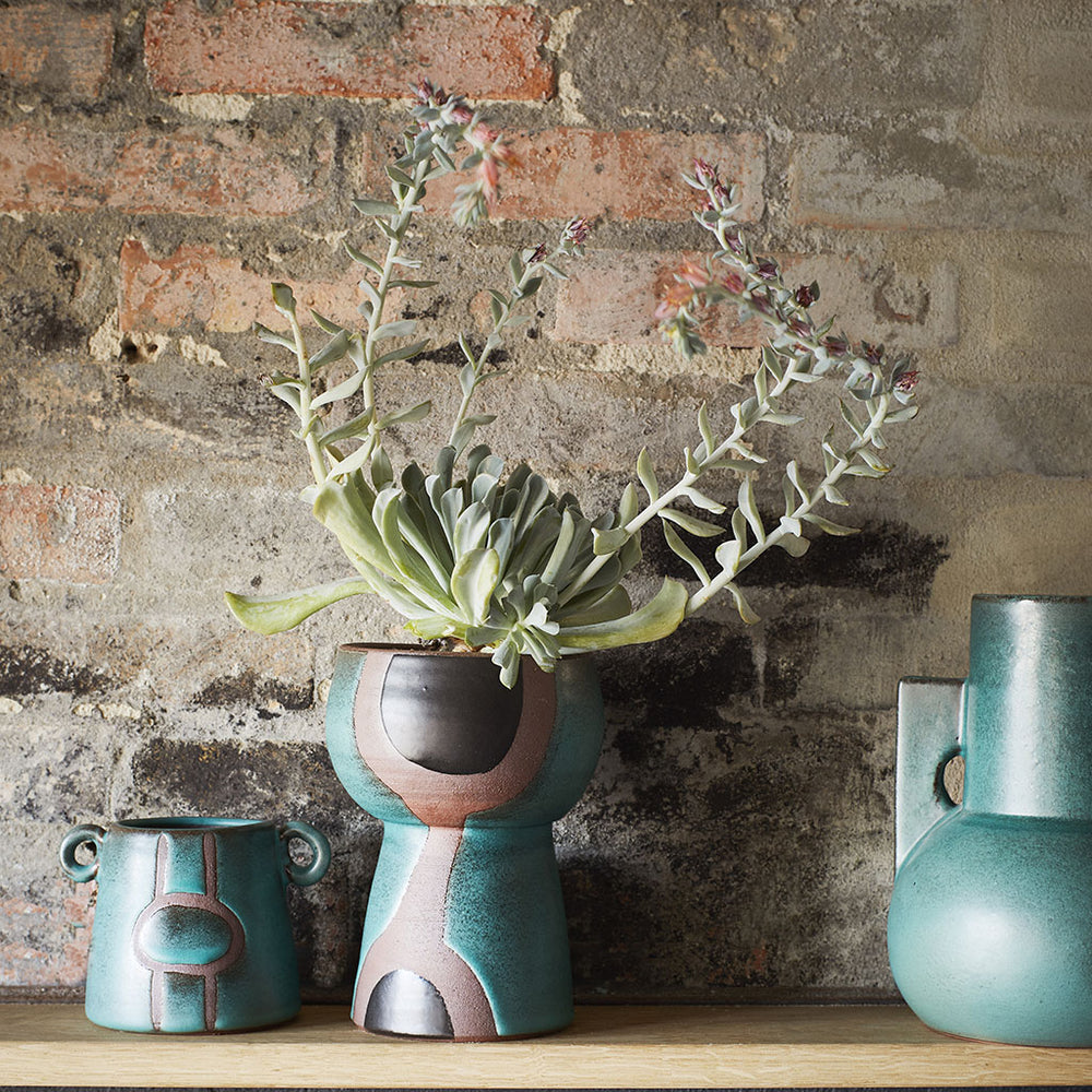 Turquoise and Black Sculptural Terracota Vase
