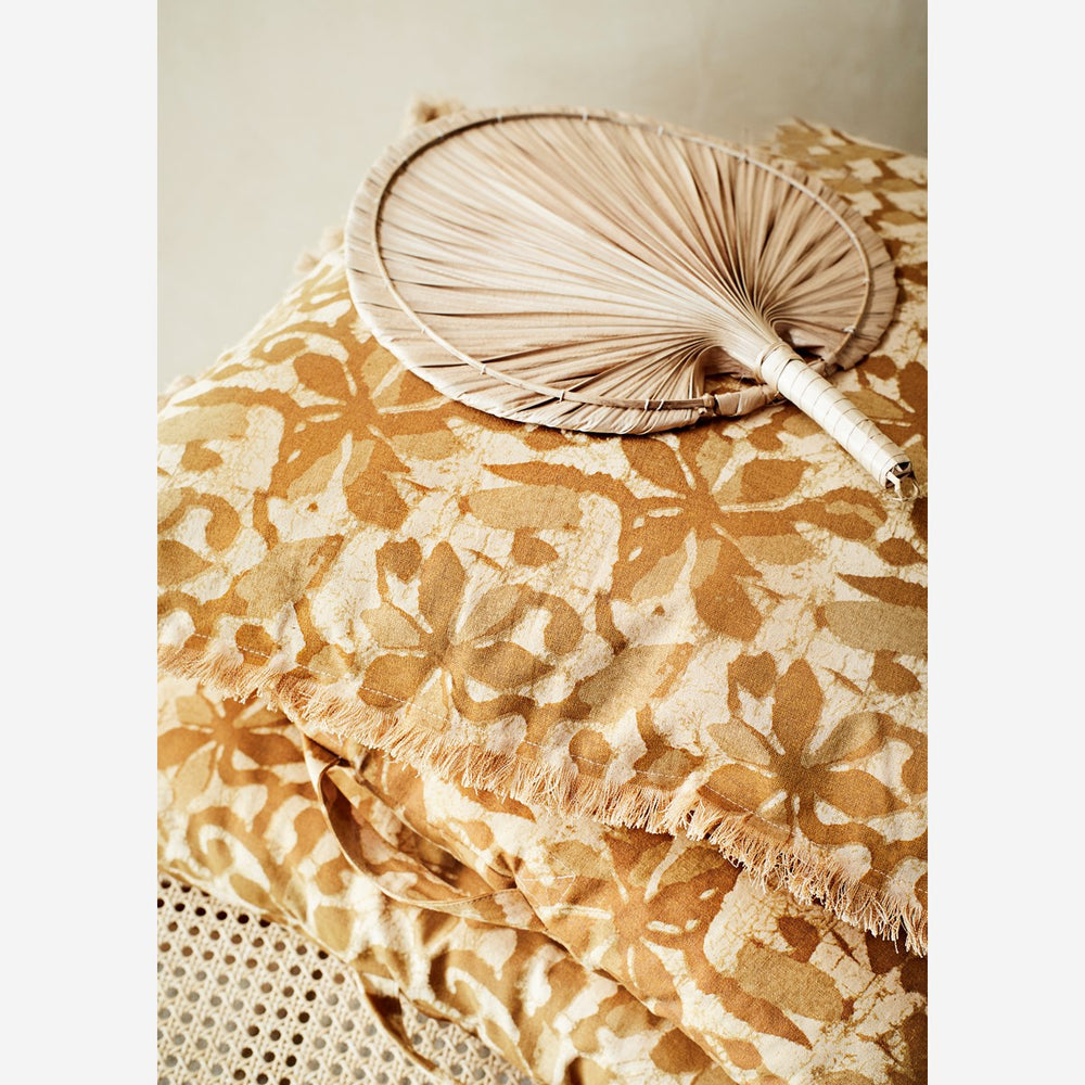60 x 60 cm Ochre & Brown Sugar Floral Printed Fringed Cushion Cover