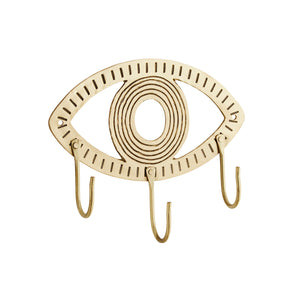 Brushed Brass Hanging Eye Ornament with 3 Hooks, 18 x 9 cm