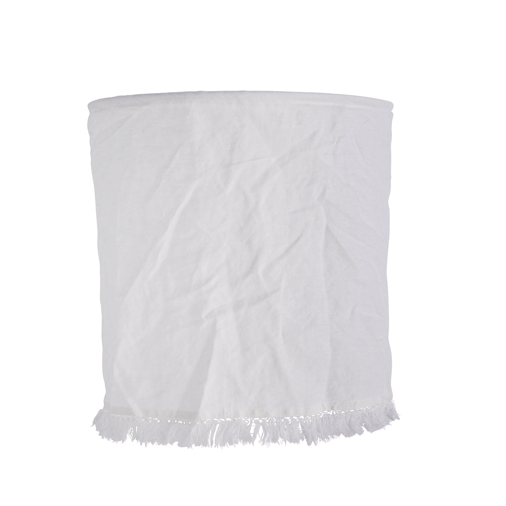 White Linen Cotton Lampshade With Fringes, 45 x 45 cm