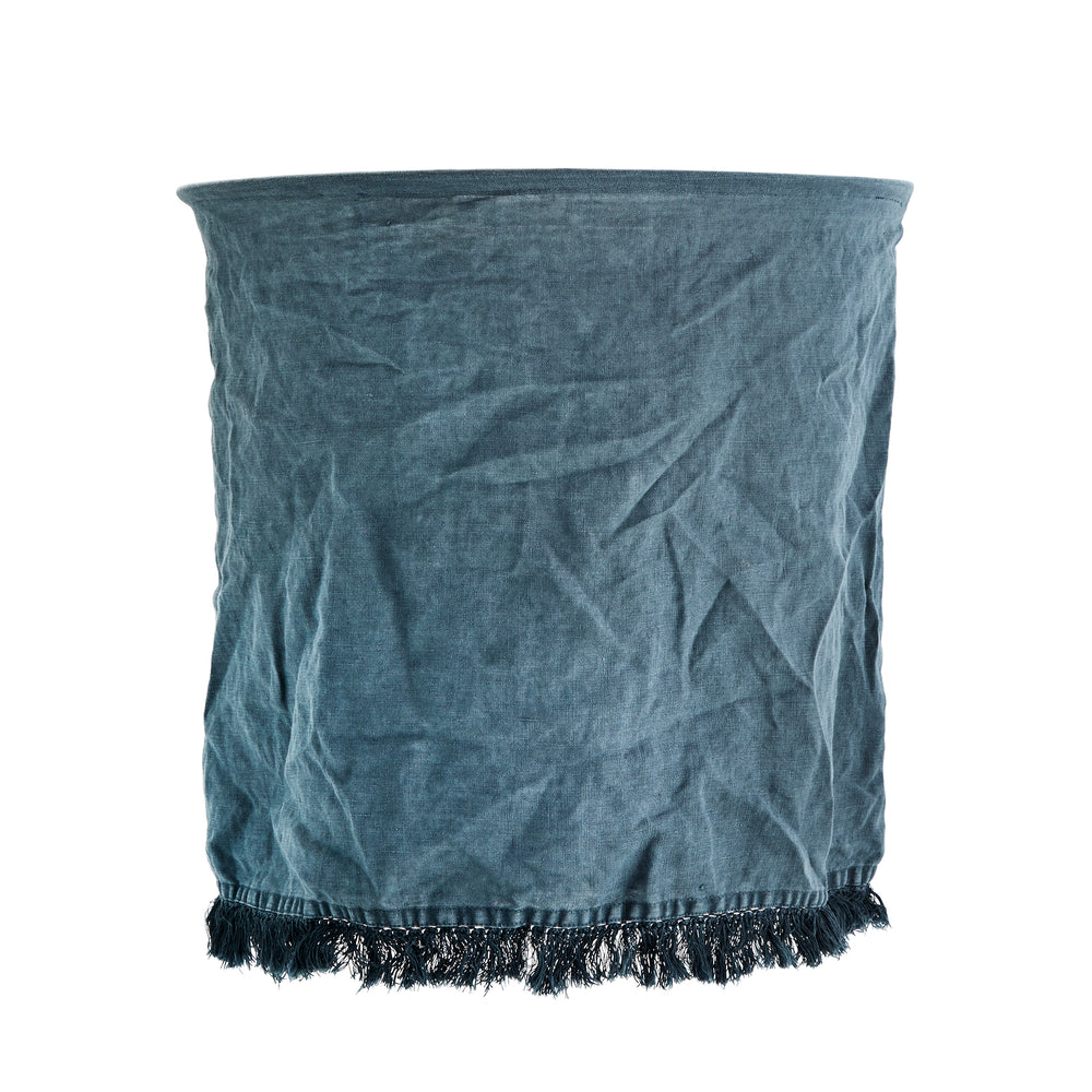Petrol Blue Stonewashed Linen lampshade with Fringe, 45 x 45 cm