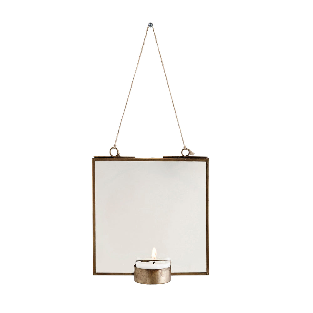 Brass Hanging T-light Holder with Mirror, 13x13 cm