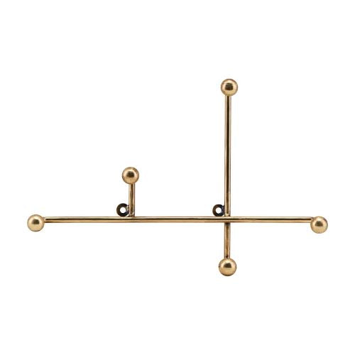 Antique Brass Geometric 'Prea' Coat Hook Rack