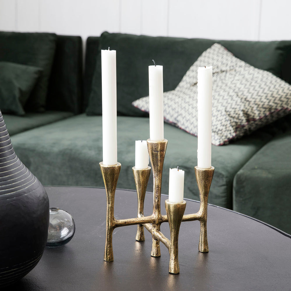 Rustic Multi Candle Stand With Brass Finish