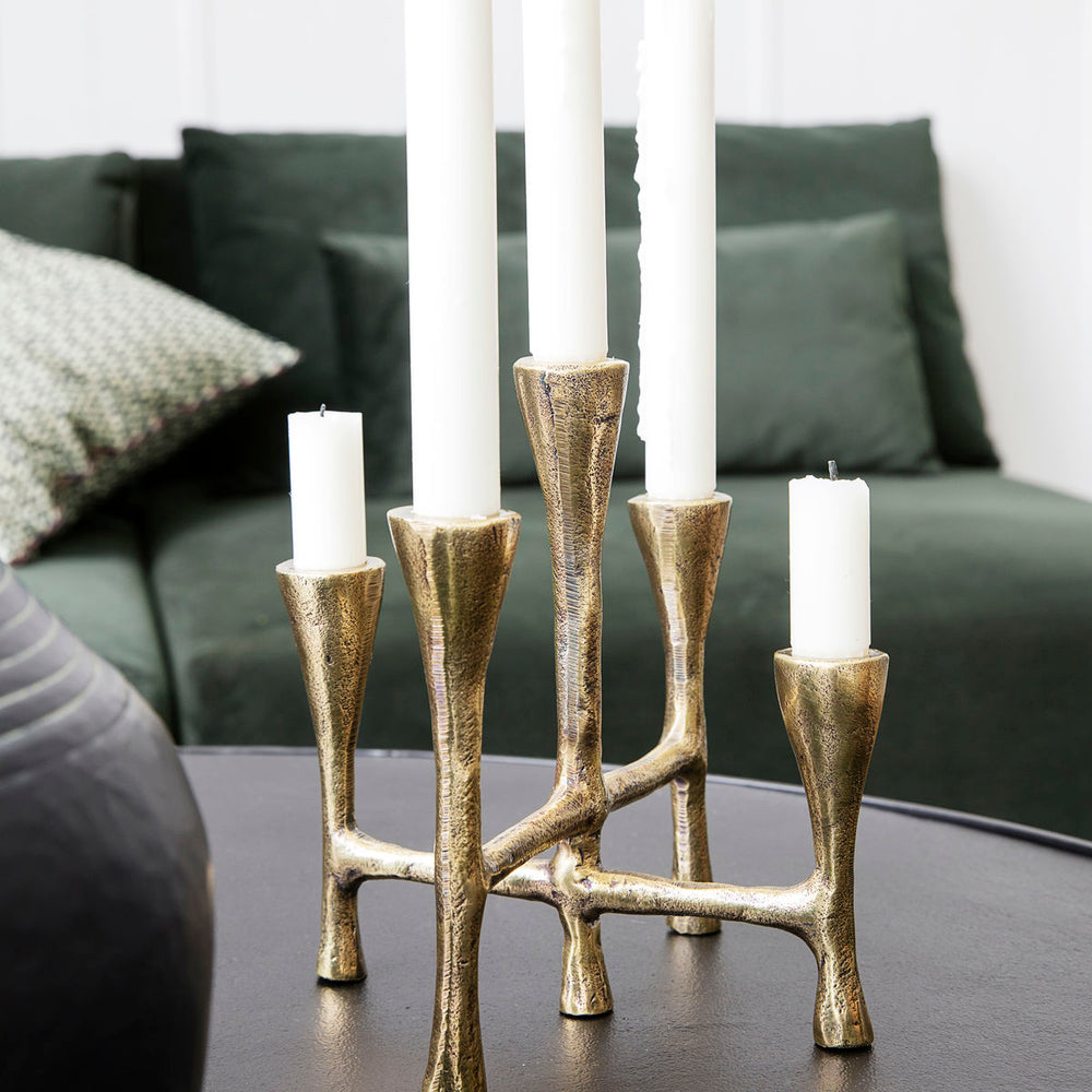 Load image into Gallery viewer, Rustic Multi Candle Stand With Brass Finish