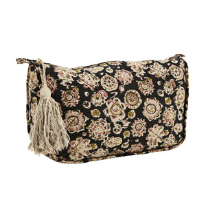 Black with rose, off white and olive block printed pattern, quilted, toiletry bag, with off-white tassel