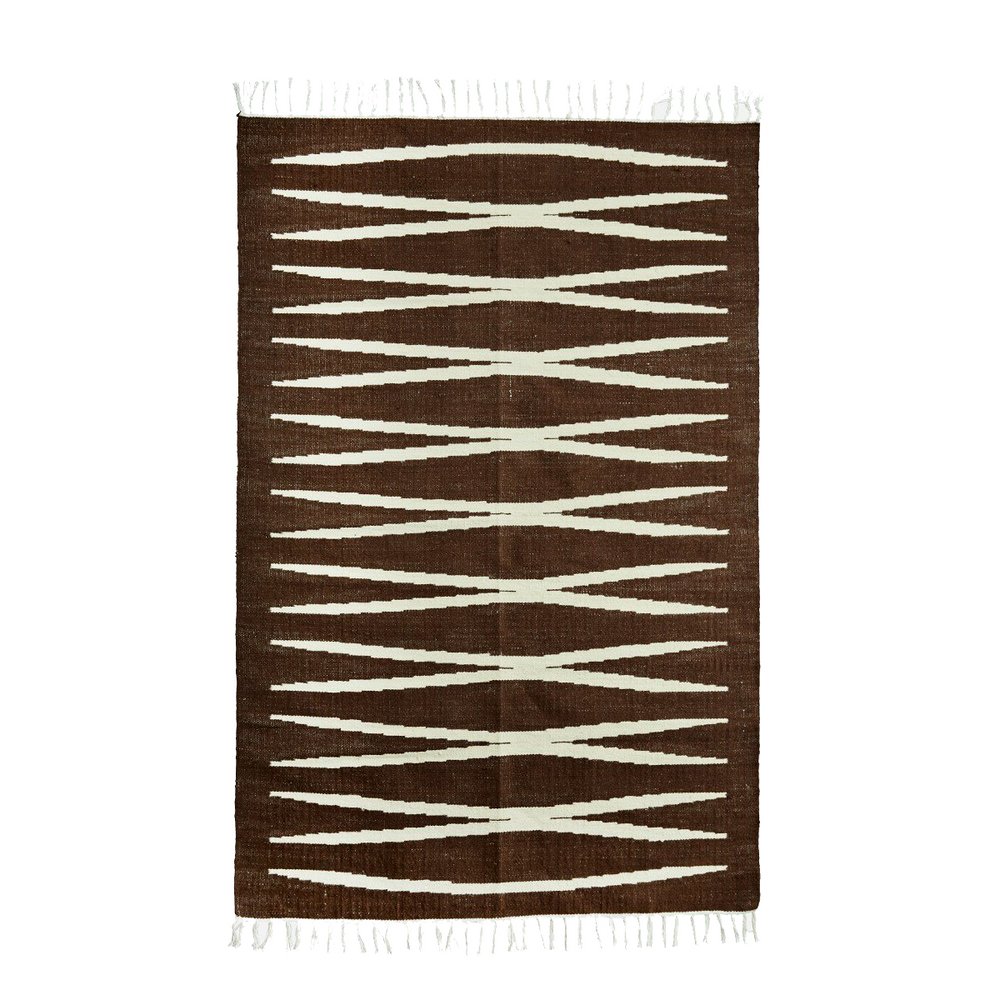 Load image into Gallery viewer, 120 X 180 Cm Brown & Off White Criss Cross Jute Rug