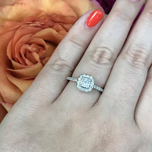 .90 CTW Diamond Halo Engagement Ring