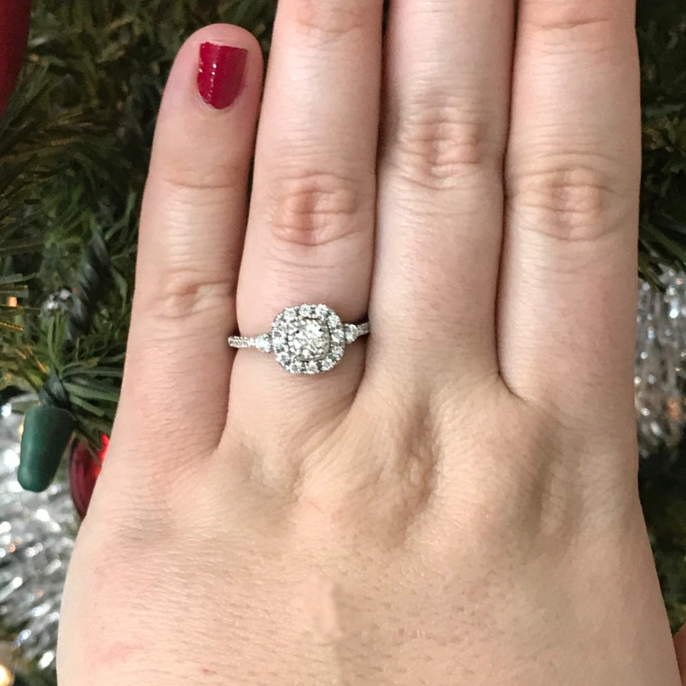 14K White Gold Round Cushion Halo Engagement Ring
