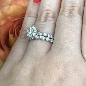 1 CTW 14K White Gold Engagement Ring with Stackable Wedding Set