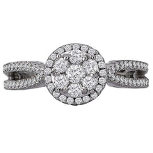 Load image into Gallery viewer, split shank diamond cluster ring