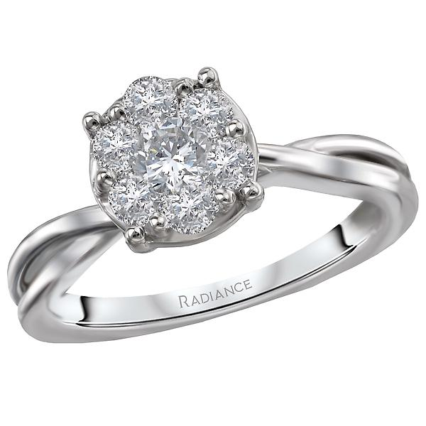 classic diamond cluster ring