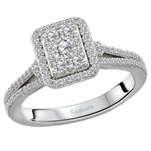 Load image into Gallery viewer, split shank halo diamond ring