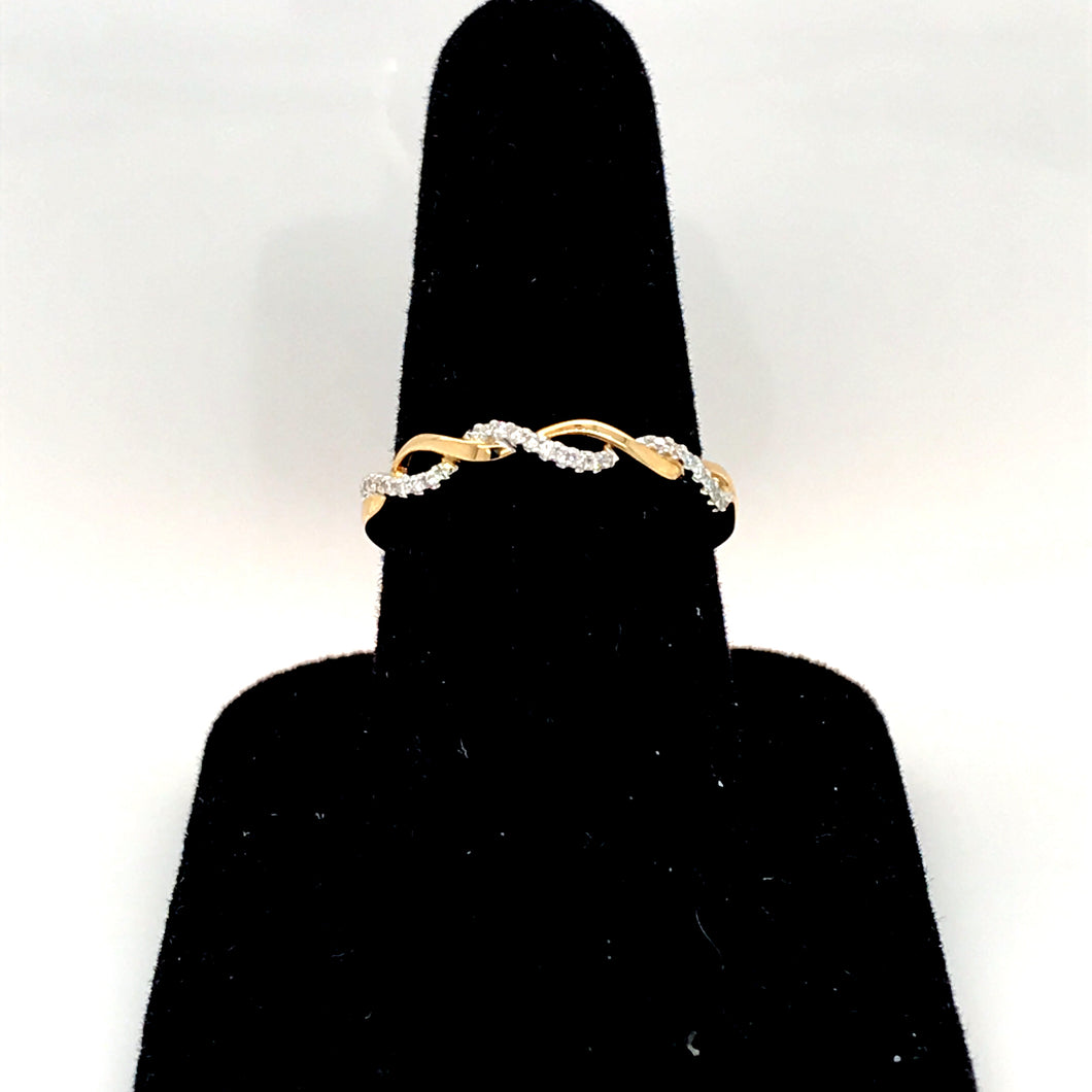 14K Yellow Gold Twist Diamond Band