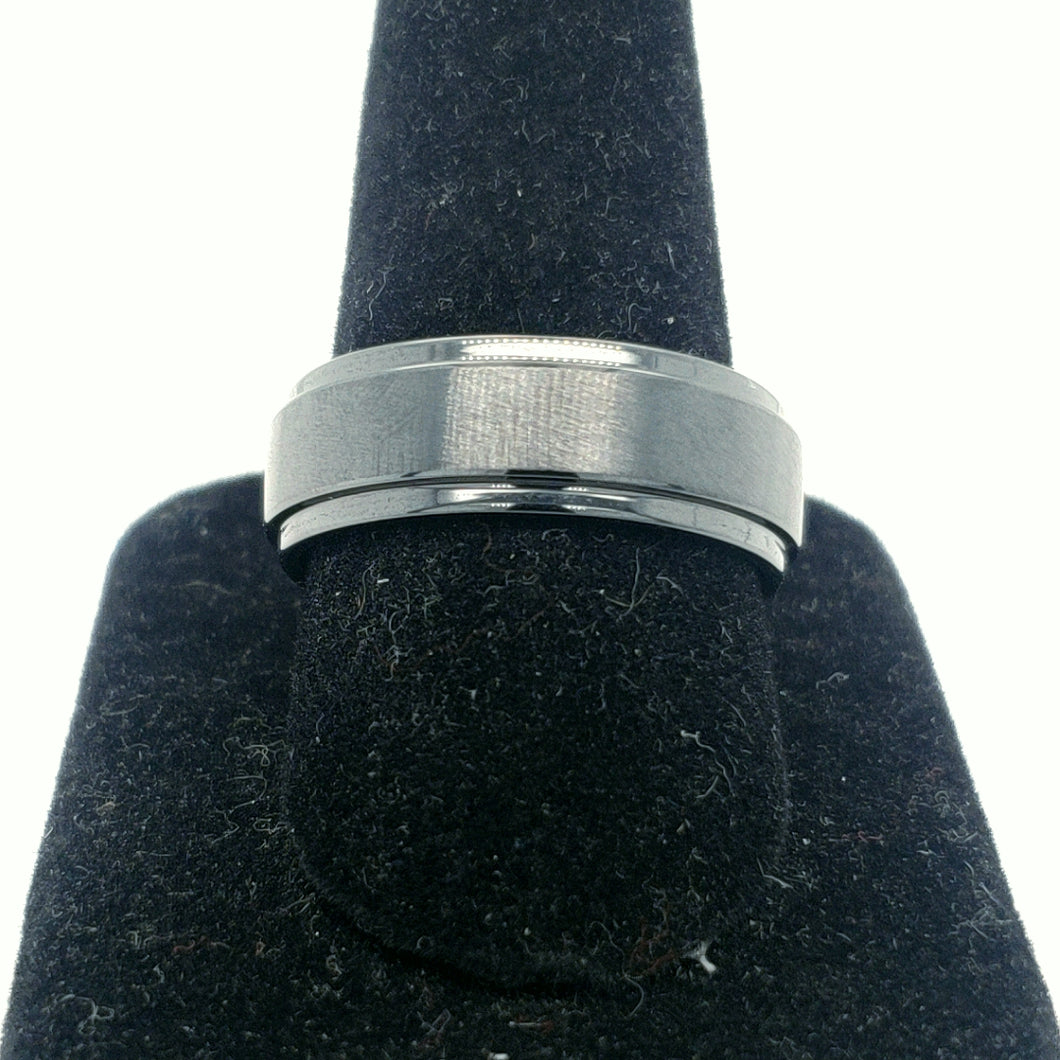 Black Ceramic Gents Band with Step Edge