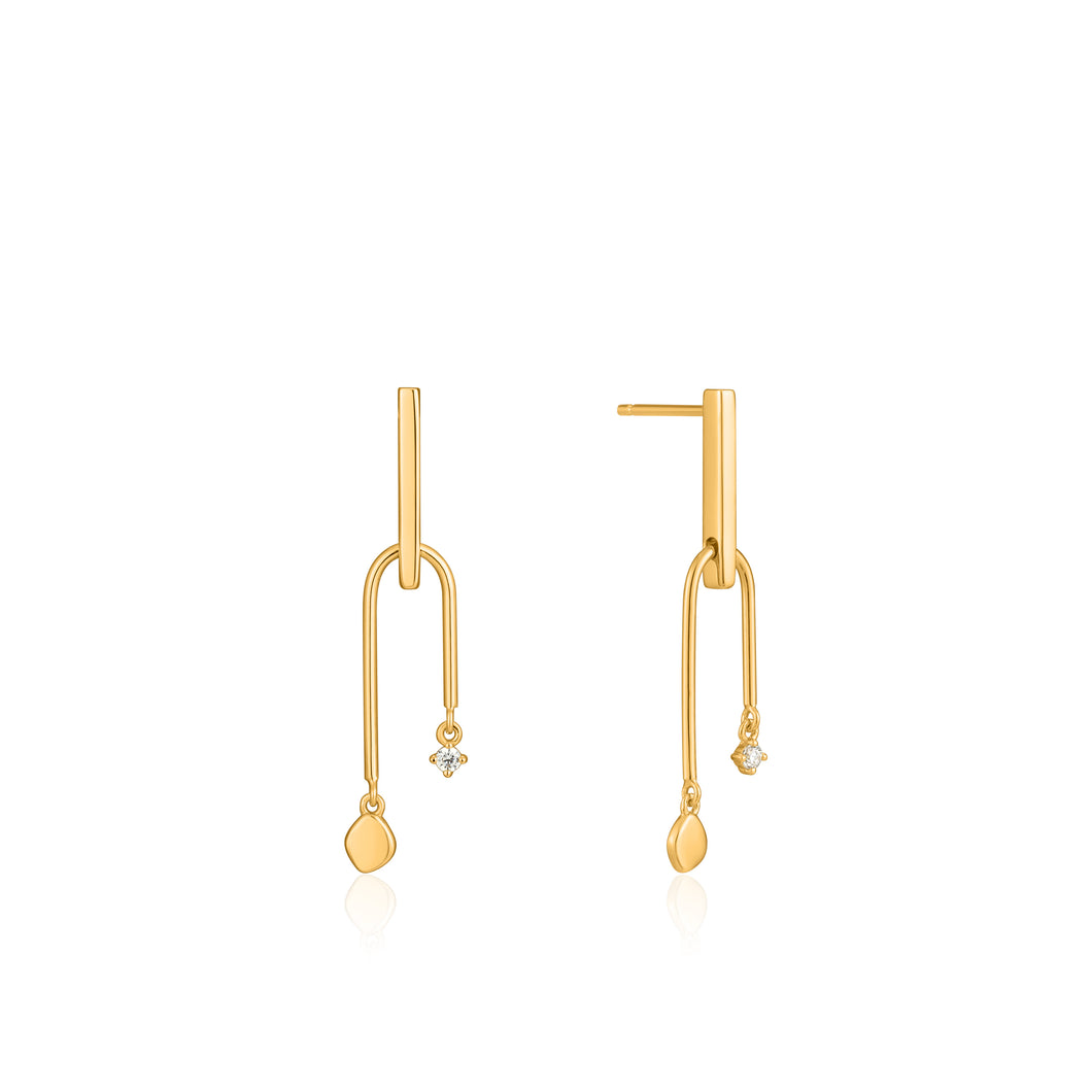 ANIA HAIE GOLD DOUBLE DROP STUD EARRINGS