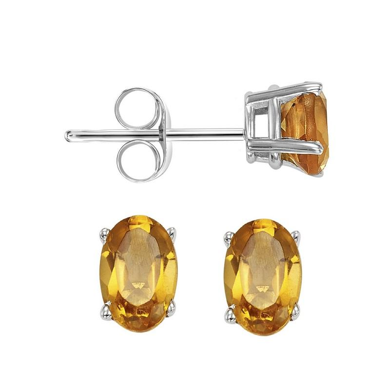 14kw prong citrine studs, fcps8.5-ss