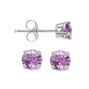 14kw prong pink sapphire studs, fpps9.5-ss