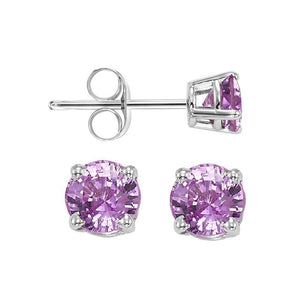 14kw prong pink sapphire studs, fpps10.5-ss