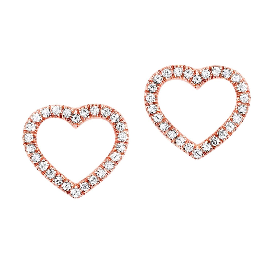 14KTR Diamond Heart Flyer Earring 1/10 Ct, Fernbaugh's, ER10020-4PSC