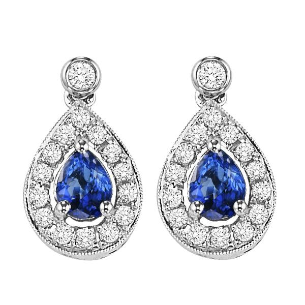 14kw color ens halo prong sapphire earrings 1/6ct, rg71761-4wc