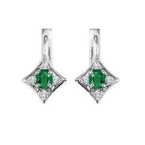 14kw color ens prong emerald earrings 1/12ct, rg10643-4wb