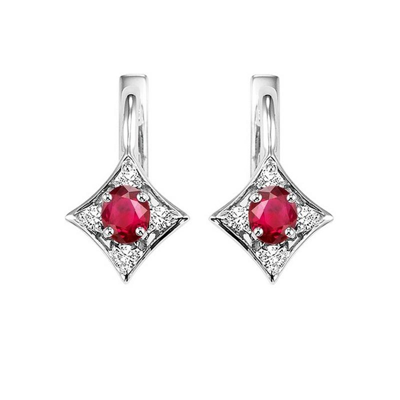 14kw color ens prong ruby earrings  1/12ct, rg71624-4wc