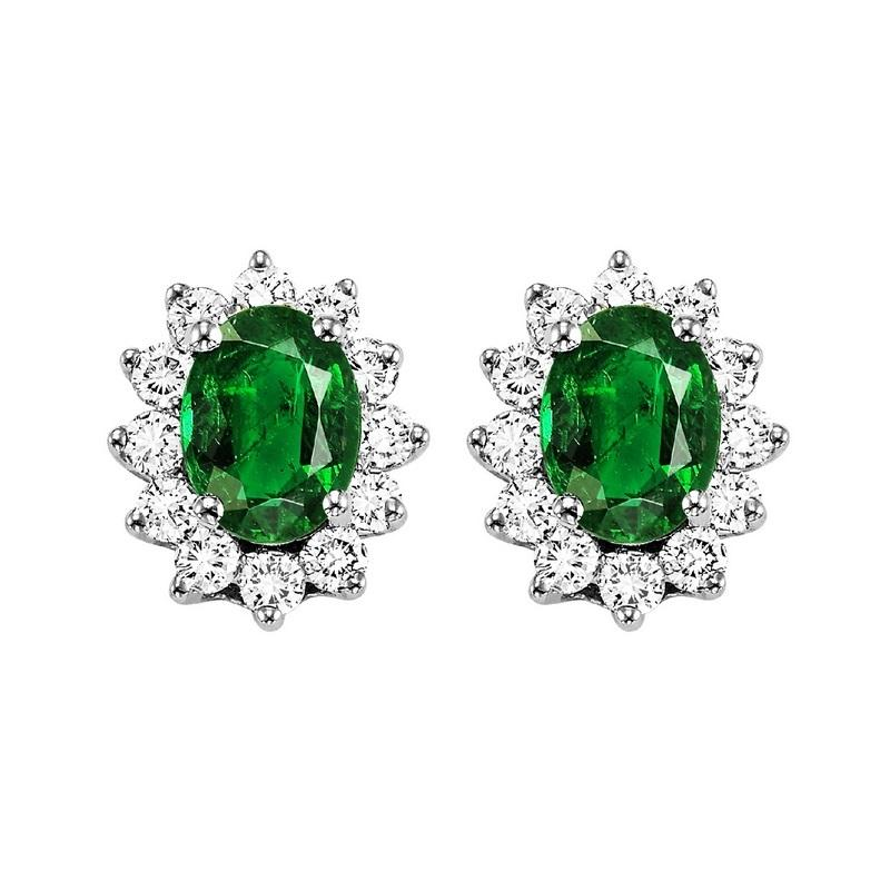 14kw color ens halo prong emerald earrings 3/8ct, rg73311-1yd