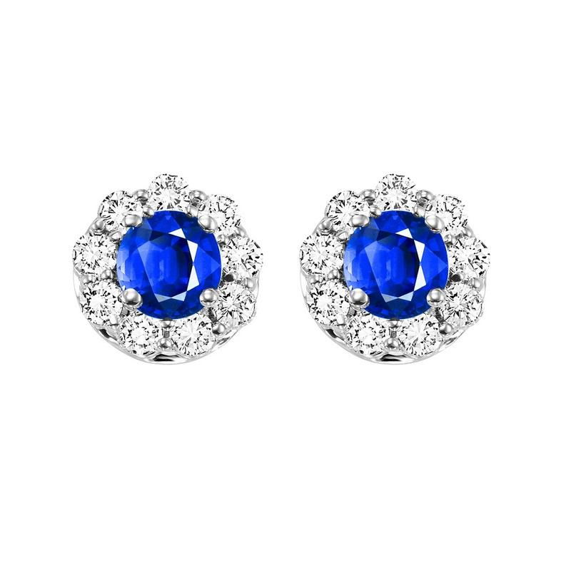 14kw color ens halo prong sapphire earrings 3/4 ct, h131-4-4wc