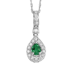 14kw color ens halo prong emerald pendant 1/10ct, rg71762-4wc