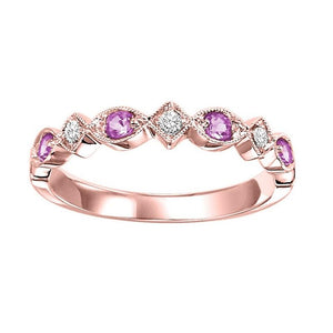 10kr mix prong pink sapphire band 1/20ct