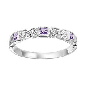 14kw mix bezel amethyst band 1/10ct, se7050g4-4w