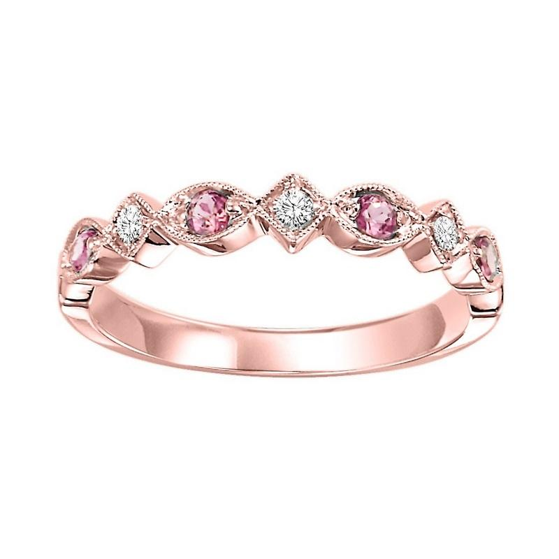 14kr mix prong pink tourmaline band 1/20ct, rg71492-4wc