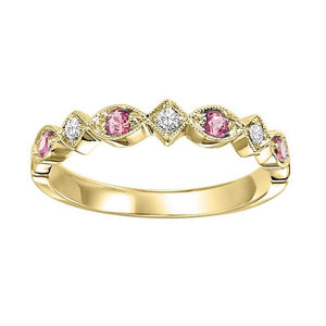 14ky mix prong pink tourmaline band 1/20ct, rg71490-4wc