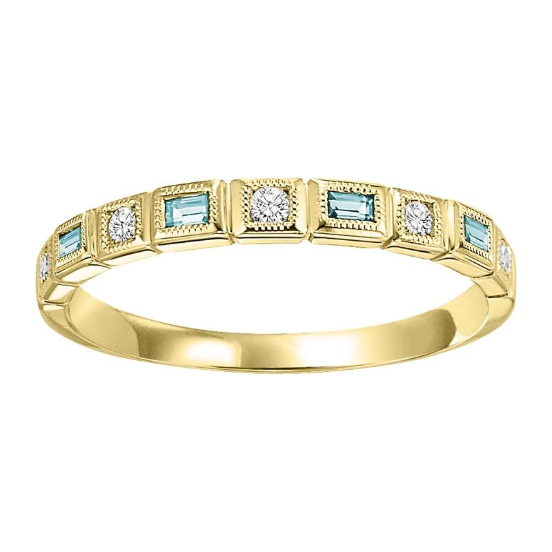 10ky mix bezel aquamarine band 1/12ct
