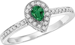 14kw color ens halo prong emerald ring 1/6ct, rg71823-4wc