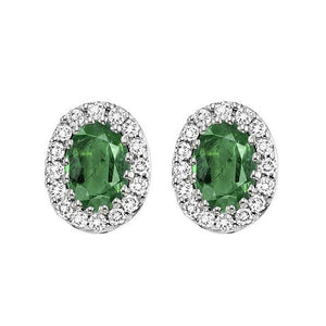 14kw color ens halo prong emerald earrings 1/5ct, rg70624-4wc