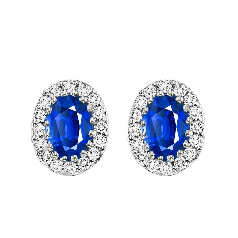 14kw color ens halo prong sapphire earrings 1/5ct, rg68790-4wc