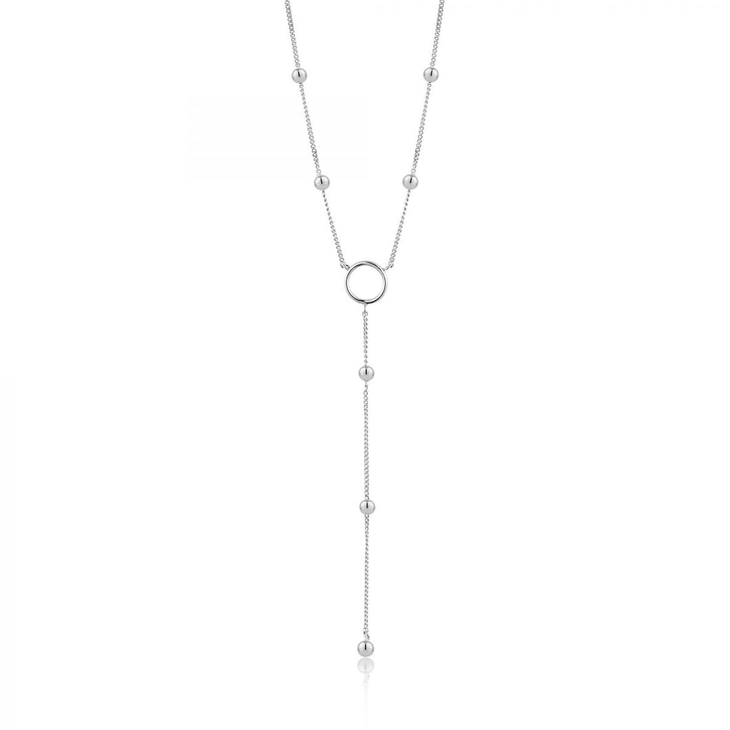 ANIA HAIE SILVER MODERN CIRCLE Y NECKLACE