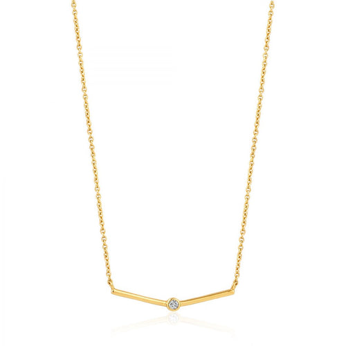 ANIA HAIE GOLD SHIMMER SINGLE STUD NECKLACE