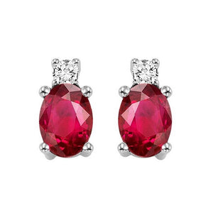 14kw color ens prong ruby earrings 1/14ct, h946-7-4wc